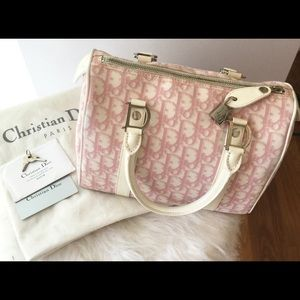 Authentic Dior canvas monogram Boston bag